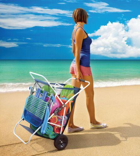 Beach Wagon Cart Folds Portable Collapsing Outdoor Utility Wide Wheel Beach gear