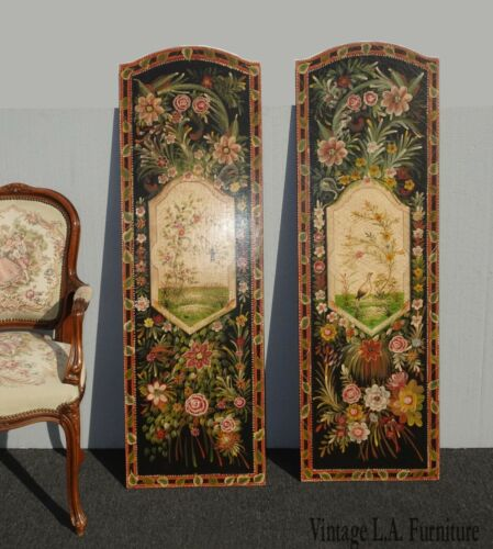 Vintage French Country Maitland Smith Style Wall Panels Floral Pictures