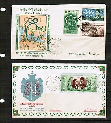 Egypt 2 x 1951 Covers (creased)