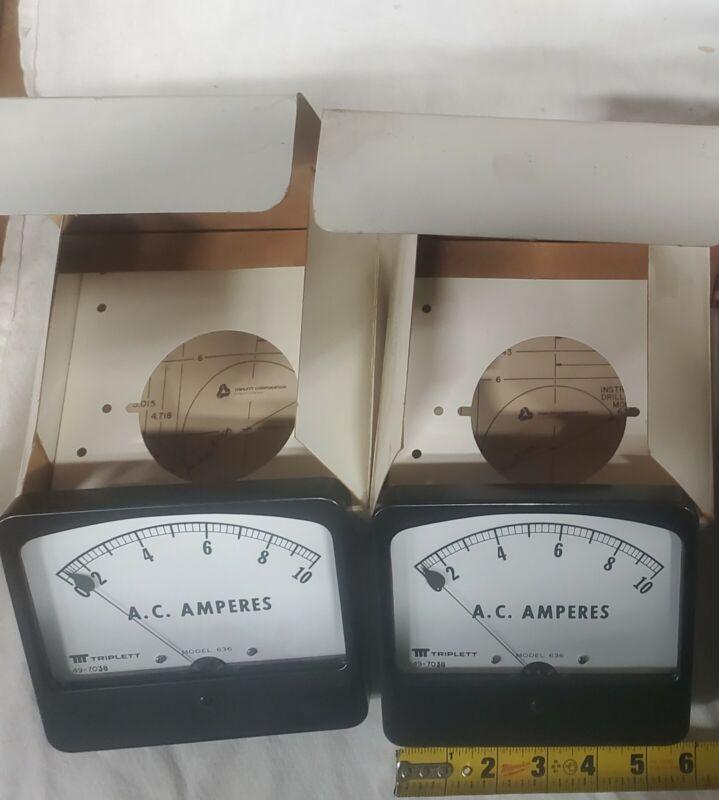 Qty2 Triplett AC Amp Meter Model#636 NOS  Range: 0-10 Amps  NEW