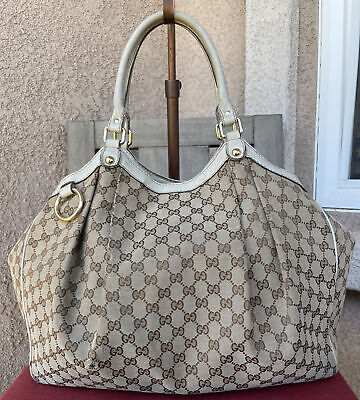 AUTHENTIC GUCCI CANVAS AND LEATHER X-LARGE SUKEY BAG PURSE