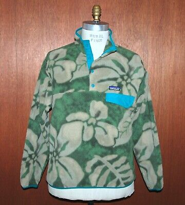 Patagonia Synchilla T Snap Fleece Jacket sz Medium M Green Hawaiian Pattern