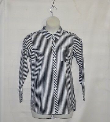 Joan Rivers Stripe  Shirt with Buttons Front Size 1X Blue/White
