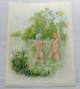 Edouard-Chimot-color-litho-1954-039-Baignades-a-deux-039-lesbian-risque-Ltd-Ed-nr46