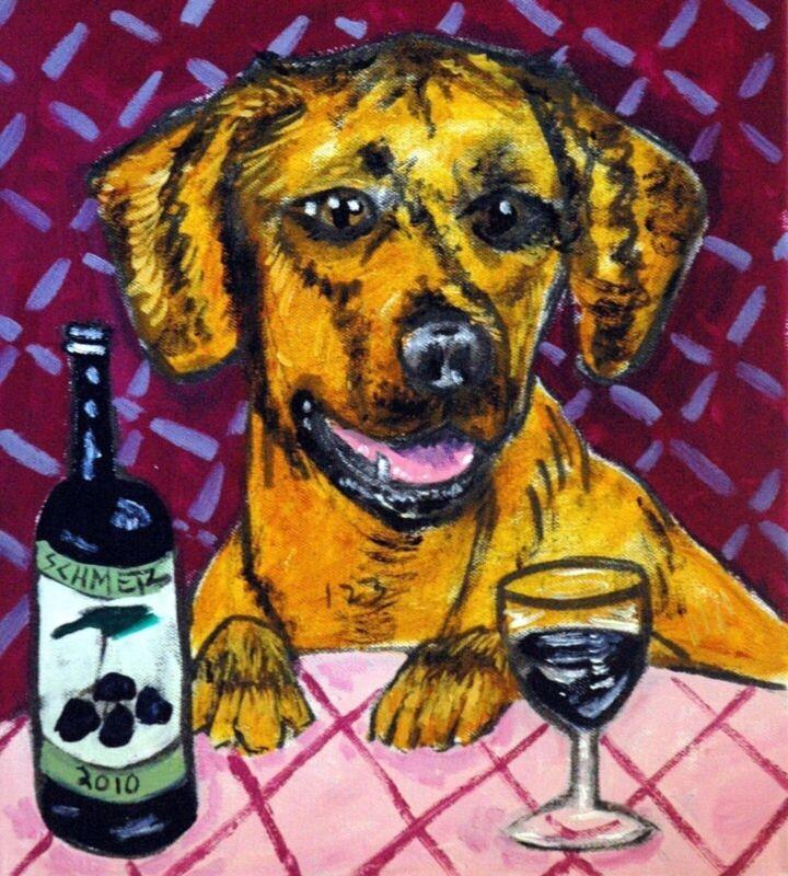 rhodesian ridgeback at the winebar dog art tile coaster gift artwork