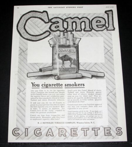 1915 OLD MAGAZINE PRINT AD, CAMEL TURKISH & DOMESTIC BLEND CIGARETTES, SMOKERS!