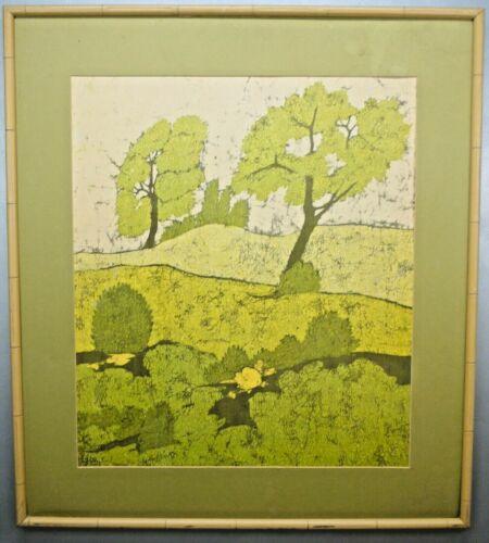 MID CENTURY Modern BATIK Landscape TEXTILE Signed CHAUNCEY Original Abstract