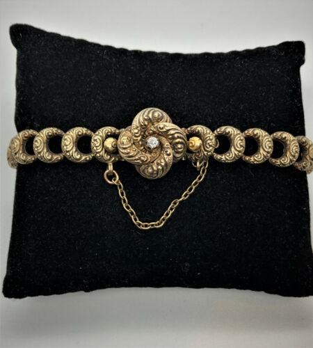 Victorian 14k Yellow Gold  & Diamond Love Knot Bracelet