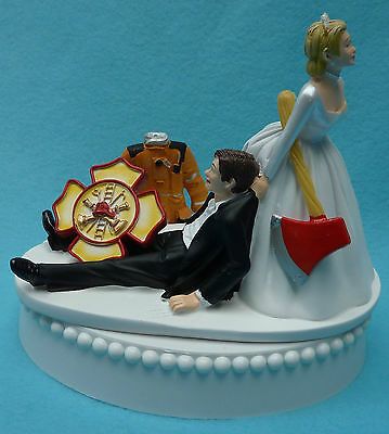 Firefighter Cake Topper (Wedding Cake Topper Fireman Firefighter Maltese Cross Themed Bride Groom)