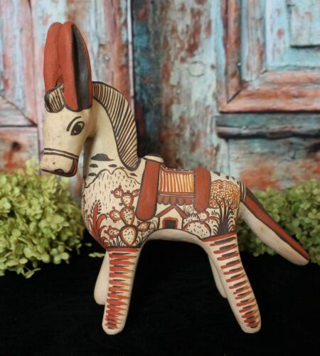 Donkey by Rodrigo de la Cruz Traditional Pottery Handmade Oapan Mexican Folk Art
