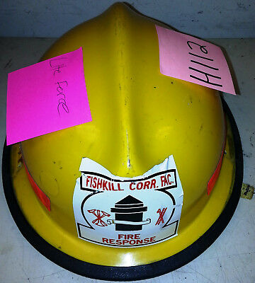 Firefighter Bunker Turn Out Gear Yellow Helmet Reflector Lite Force  H112