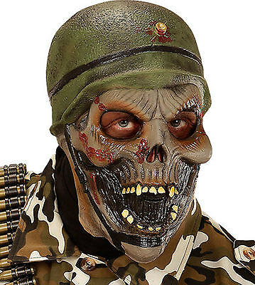 Latex Halloween Outfit (Zombie Army Soldier Latex Mask Scary Halloween Fancy Dress Costume)
