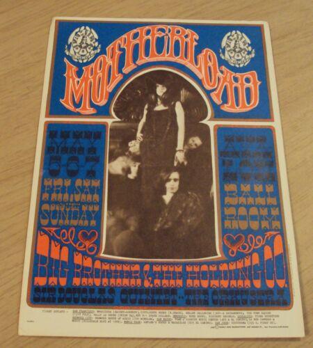 "1967 Rock Music Handbill/Postcard~""MOTHERLOAD Big Brother & The Holding Co""~"