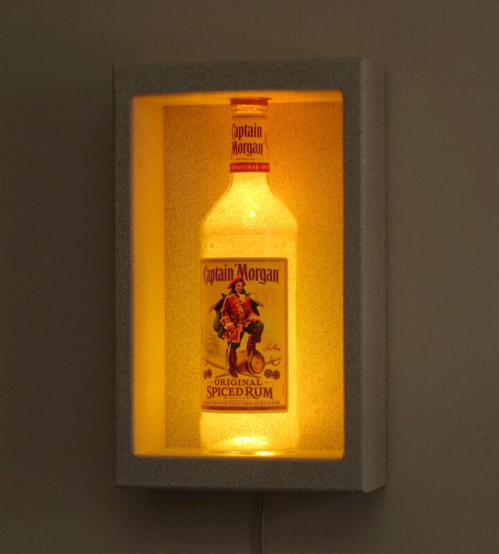 Captain Morgan Rum LED Shadow Box Sconce Display  Remote Bottle Lamp Bar Light