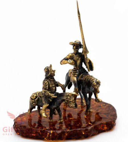 Brass Amber figurine Don Quixote Spanish Knight & Sancho Panza Донкихот IronWork