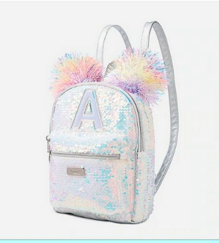 New Justice sequin pom-pom initial mini backpack -  I, J, R, A