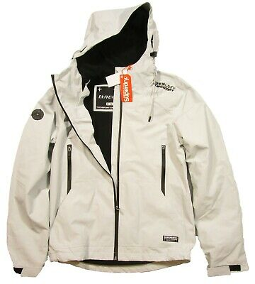 Superdry Men's Putty Light Gray Arctic Elite Windcheater Full Zip Hooded Jacket