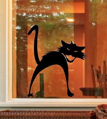 ght  Cat Window Door Sticker Decals Trick or Treat (Halloween Spooky Cat)