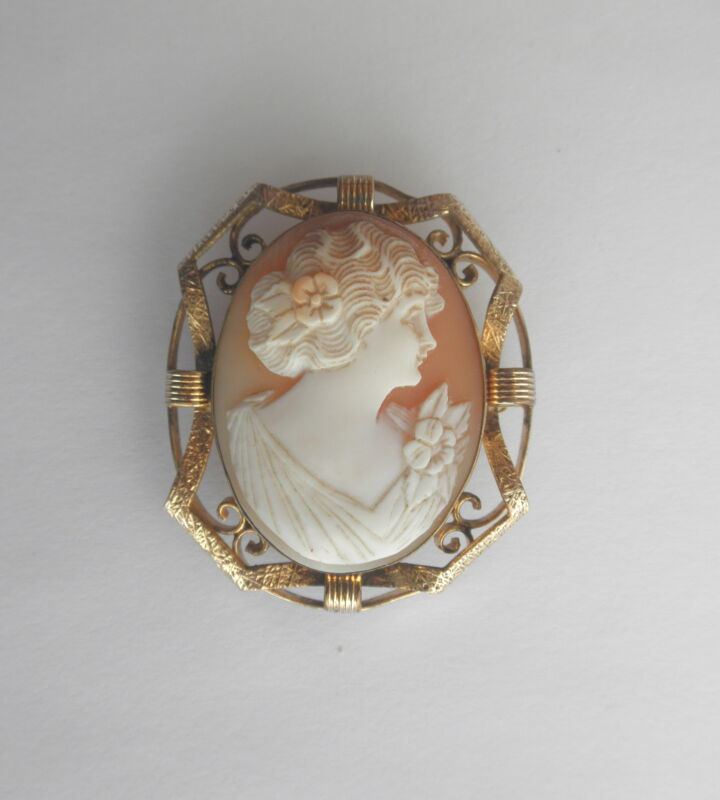 Antique Victorian Shell CAMEO Brooch/Pendant in Ornate Gold-Filled Frame~~Lovely