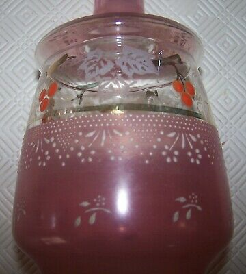 GORGEOUS VICTORIAN PINK/WHITE GLASS DECANTER WITH FRUIT DESIGN
