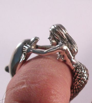 (  14 KT  White Gold MERMAID AND  DOLPHIN RING SIZE 6)