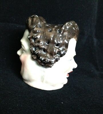 EXTREMELY RARE STAFFORDSHIRE STICK PIN HOLDER TWO FACED HAPPY & - Extremely Happy Face
