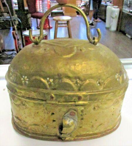Antique~Hammered Brass~BETEL Betal Nut BOX~SE Asia~Thai~Philippines~