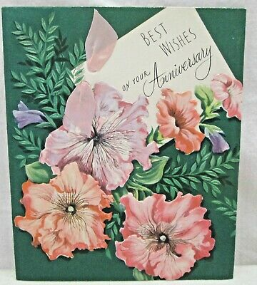 Vtg Wedding Anniversary Greeting Card Best Wishes Pink Ribbon Embossed (Best Flowers For Wedding Anniversary)
