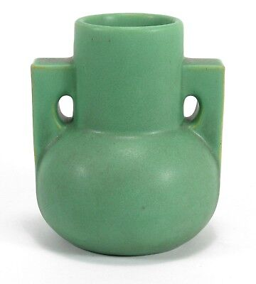 "Teco Pottery 2 buttress handle 5.5"" matte green Arts & Crafts prairie school"