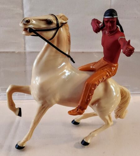 BRAVE EAGLE & WHITE CLOUD Rearing Horse & Rider Western Vintage by HARTLAND 50