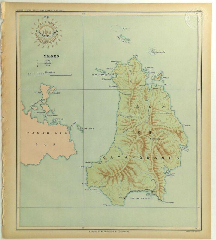 1899 US Navy Jesuit Observatory Map Philippine Islands Catanduanes Camarines Sur