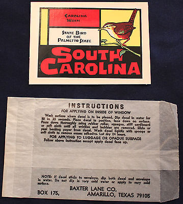 Original Vintage South Carolina State Bird Carolina Wren Travel Decal Sticker