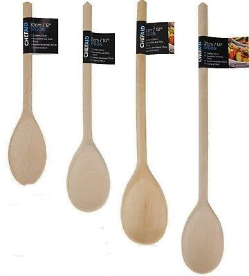 "Chef Aid Traditional Beech Wooden Spoon 8"" 10"" 12"" 14"" Cooking Stirring Natural"