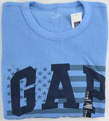 Flag Thermal Shirt - NWT Mens GAP Long Sleeve Thermal Shirt Arched Flag Logo Bondi Blue - 884364