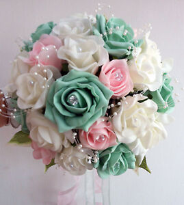 Wedding Flowers Brides Bouquet Ivory Pale Pink Mint Green Roses