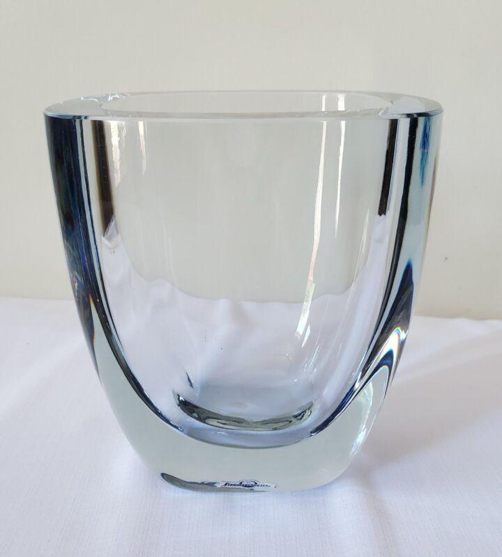 Rare Strombergshyttan Swedish Vase Ice Blue Art Glass