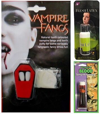 Halloween Reißverschluss Schminke Kostüm Vampir Zähnen Zähne Künstliches Blut