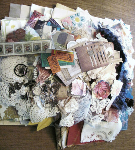 LARGE JUNK JOURNAL SUPPLY LOT EPHEMERA, FABRIC,DOILY,LEDGER,DIE CUTS, LACE TRIM