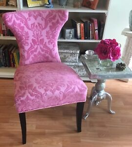 Stunning PAIR of antique replica slipper chairs in PINK!