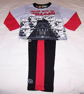 Lego Star Wars Darth Vader Boys Grey Black Printed Pyjama Set Size 7 New