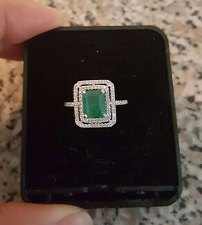 Brand New 1.60 Carat Natural Emerald & Diamond Engagement Ring   St Andrews Campbelltown Area Preview