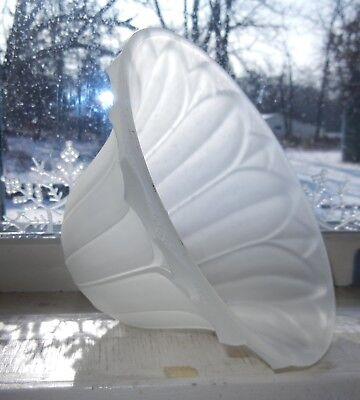 LIGHT GRAYISH SATIN GLASS SHADE RAISED LEAVES DOTTED RIM 1-5/8