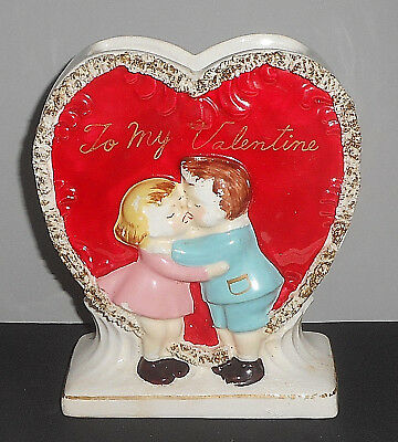 RARE Vintage Mid Century Valentine Heart Figurine Planter Girl Kissing Boy Sgn.