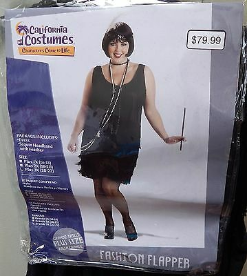 Plus Size Fashion Flapper Kostüme (California Costumes Fashion Flapper Plus 3 Size Dress & Sequin Headband 119M)