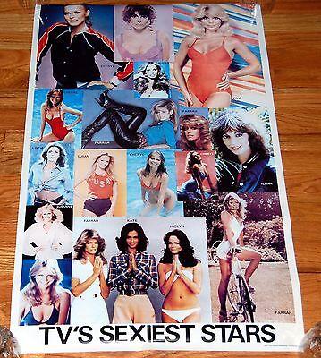 TV's Sexiest Stars 1979 Collage Poster Charlie's Angels Farrah Fawcett NEAR MINT
