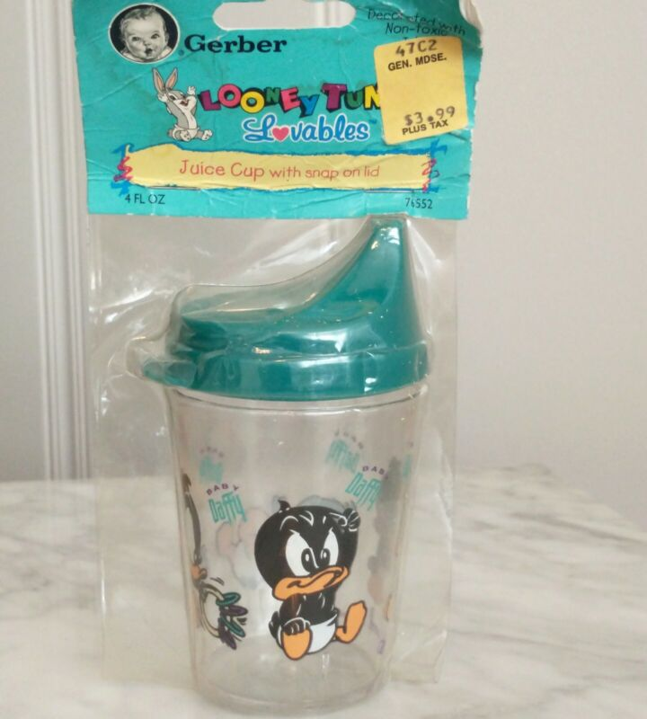 Vtg 90s Looney Tunes Gerber Baby Lovables NOS Sippy Cup Bunny Daffy Duck Art Mug