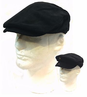 IVY Newsboy Cabbie Golf Driving Heavy Brushed Cotton Black Hat with Front Snap - Black Cabbie Hat