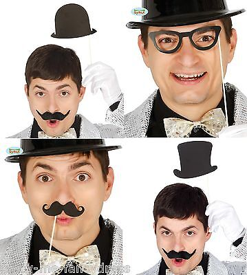 Set mit 8 1920s Zylinder Melone Brille Schnurrbart Fotokabine Requisiten Kostüm