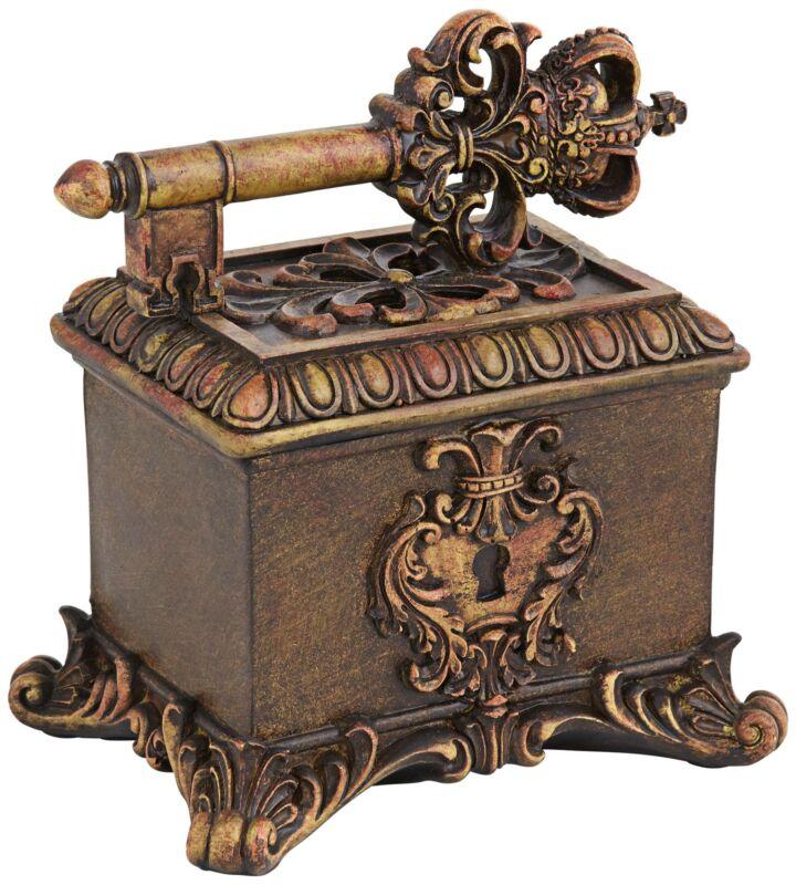 """Segreto 7 1/2"""" Wide Copper Bronze Royal Key Decorative Box"""