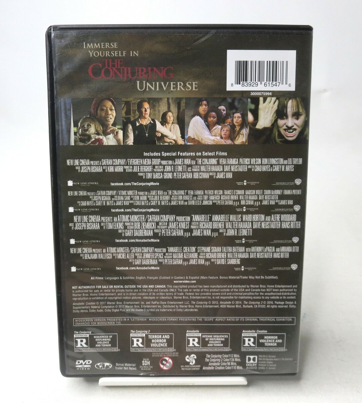 The Conjuring 1 2 / Annabelle Creation 4-Film Collection DVD,2018 4 Disc Set - $26.99